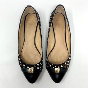 Tory Burch Calf Hair Pointed Toe Flats Dot Print